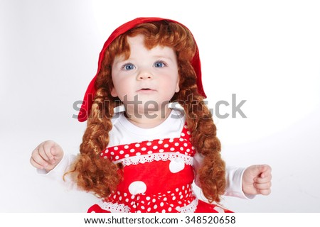 photo of beautiful curly red hair girl - stock photo