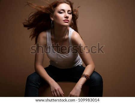 Photo of beautiful fashion woman with magnificent hair - stock photo