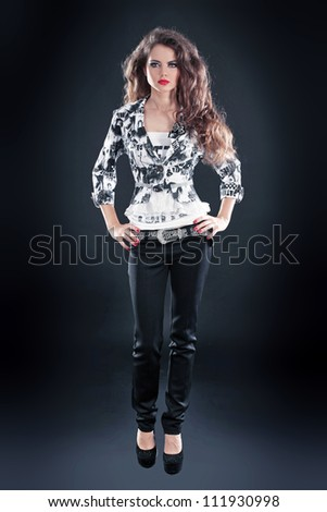 Photo of beautiful girl is in fashion style, glamur - stock photo