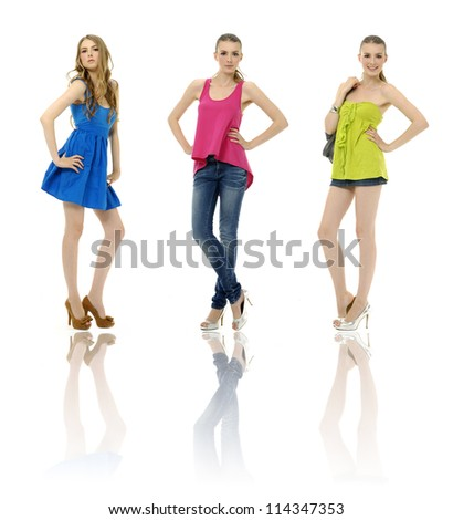 photo of beautiful girl posing different clothes, posing collection  reflection