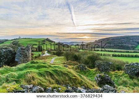 Photo of beautiful irish landscape in the winter - stock photo