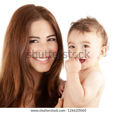 Photo of beautiful mother holding cute baby boy, closeup portrait of pretty brunette woman with little son isolated on white background, happy arabic family, adorable kid, love and happiness concept - stock photo