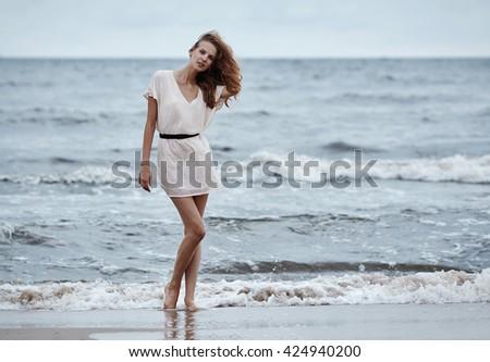 photo of beautiful sensual girl in water - stock photo