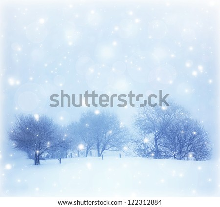 Photo of beautiful snowy landscape, Christmas postcard, snow cover on the trees, seasonal snowfall, snowstorm in cold winter day, frosty weather, hoarfrost on wood branches, wintertime panorama - stock photo
