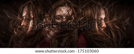 Photo of beautiful three girls with magnificent hair. Fashion photo - stock photo
