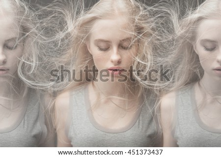 Photo of beautiful woman with magnificent blonde hair. Blonde Hair, closed eyes