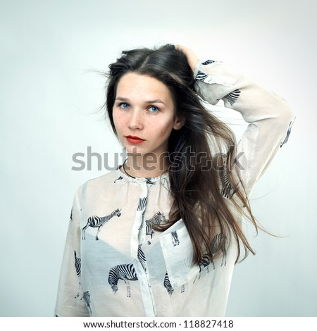 Photo of beautiful young woman. Fashion look. - stock photo
