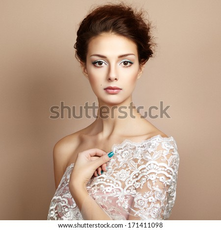 Photo of beautiful young woman. Vintage style. Fashion photo - stock photo