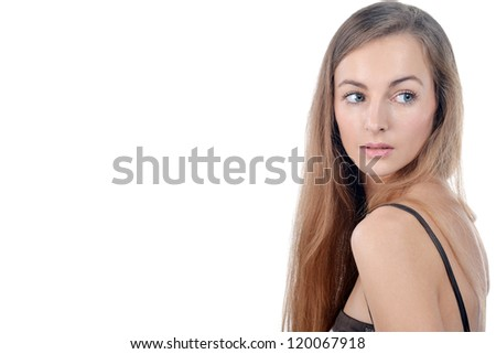 Photo of beautiful young woman with blonde hair