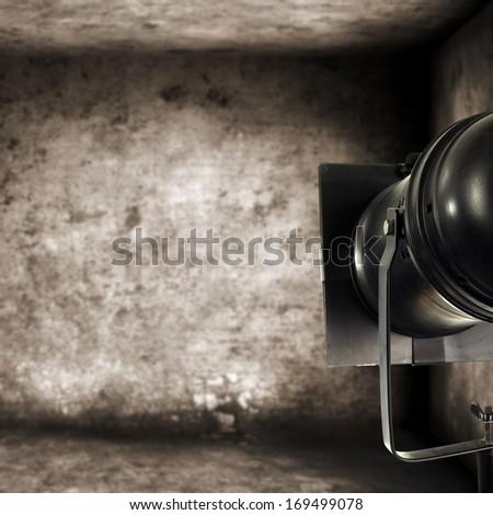 photo of black lamp and gray walls  - stock photo
