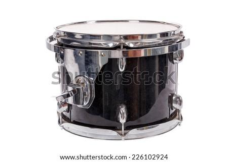 photo of black music bass drum  on white background - stock photo