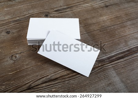 photo blank business cards on wooden stock photo royalty free
