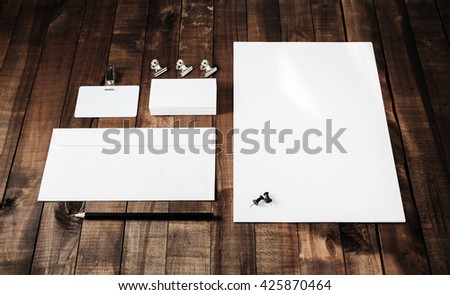 Photo of blank stationery set. Blank stationery template for branding identity for designers. Mock-up for corporate identity. - stock photo