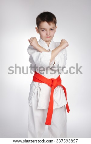 photo of boy practice karate on white background