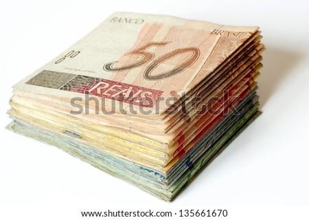 Photo of Brazilian money pile - stock photo