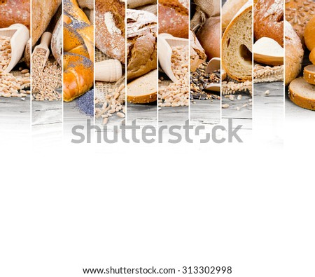 Photo of bread and bun mix stripes with white space - stock photo