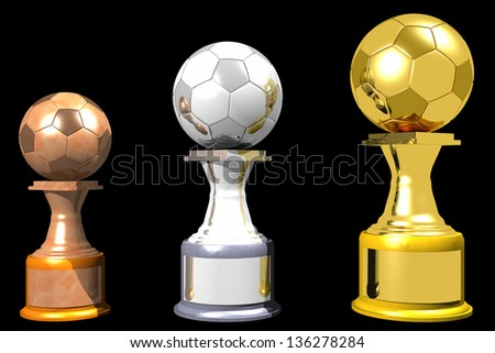 Photo of Bronze, silver and gold soccer trophies (3D) - stock photo