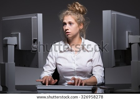 Photo of burnout constantly working woman with mental problem - stock photo