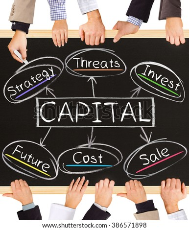 Photo of business hands holding blackboard and writing CAPITAL concept - stock photo