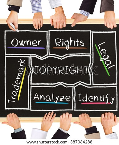 Photo of business hands holding blackboard and writing COPYRIGHT concept - stock photo