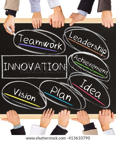 Photo of business hands holding blackboard and writing INNOVATION concept - stock photo