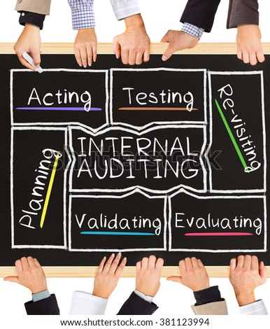 Photo of business hands holding blackboard and writing INTERNAL AUDITING diagram - stock photo