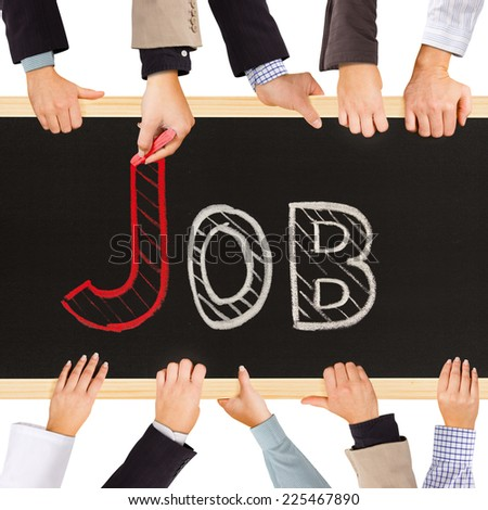 Photo of business hands holding blackboard and writing JOB concept - stock photo