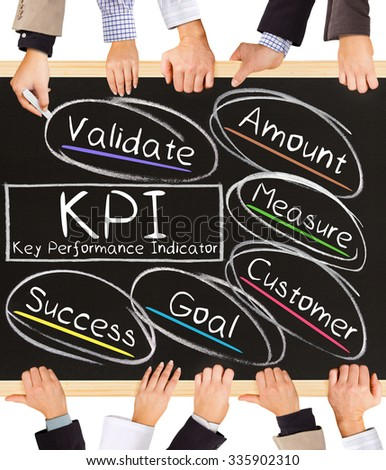 Photo of business hands holding blackboard and writing KPI concept - stock photo