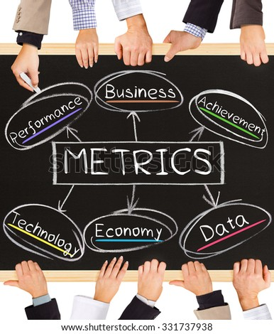 Photo of business hands holding blackboard and writing METRICS diagram - stock photo