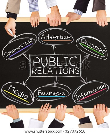 Photo of business hands holding blackboard and writing PUBLIC RELATIONS diagram - stock photo