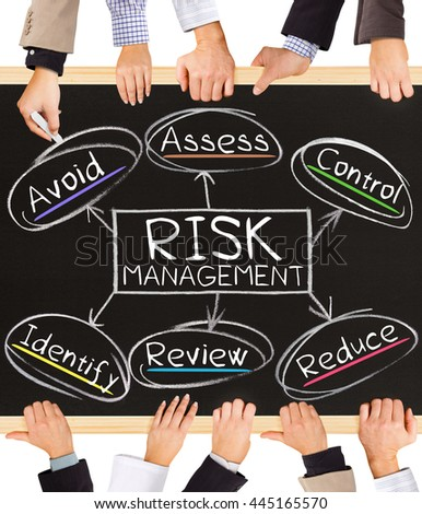 Photo of business hands holding blackboard and writing RISK MANAGEMENT concept - stock photo