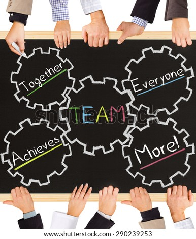 Photo of business hands holding blackboard and writing TEAMWORK schema