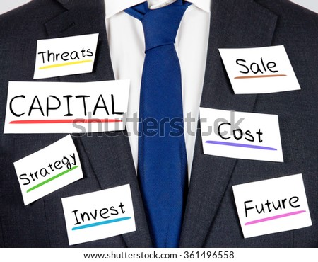 Photo of business suit and tie with CAPITAL conceptual words written on paper cards - stock photo