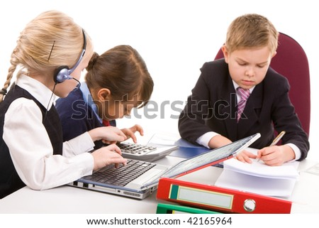 Photo of busy girls interacting at meeting with serious boss near by