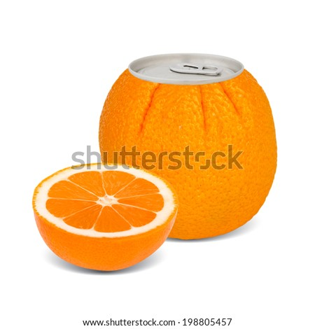 Photo of can with fruit - orange juice concept