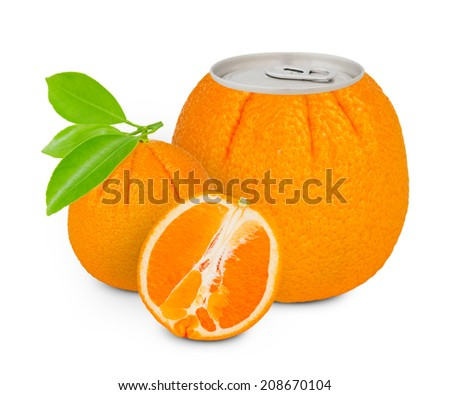 Photo of can with fruit - orange juice concept - stock photo