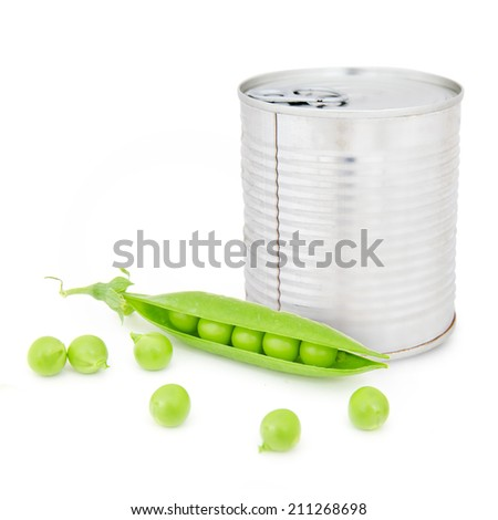 Photo of can with peas and pod isolated on white - stock photo
