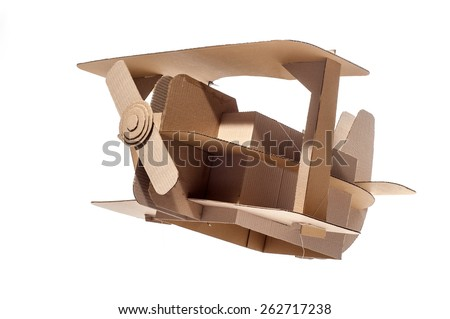 Photo of  cardboard plane on white background. Biplane. - stock photo