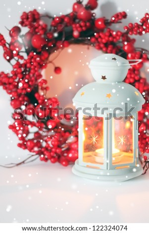 Photo of christmas decoration with lantern - stock photo