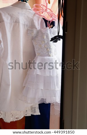photo of clothes drying on the balcony - stock photo