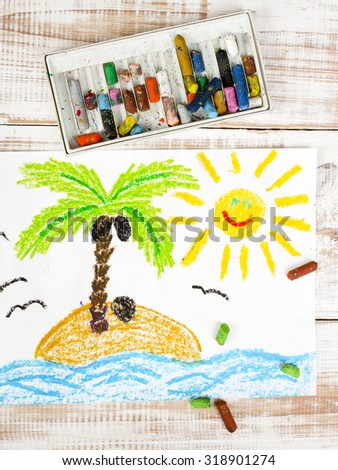 photo of colorful drawing: a desert island - stock photo