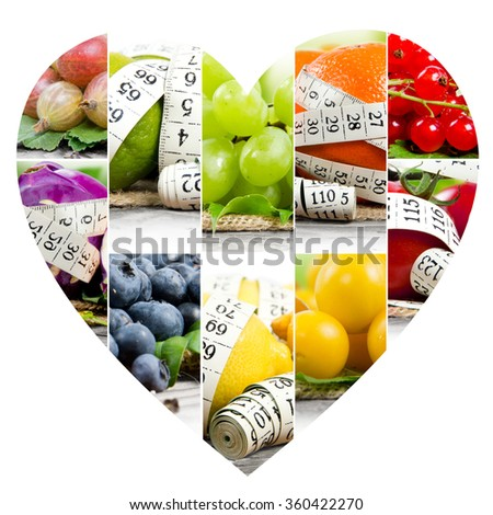 Photo of colorful fruit and vegetable mix with white measuring tape and heart shape; concept of fitness - stock photo