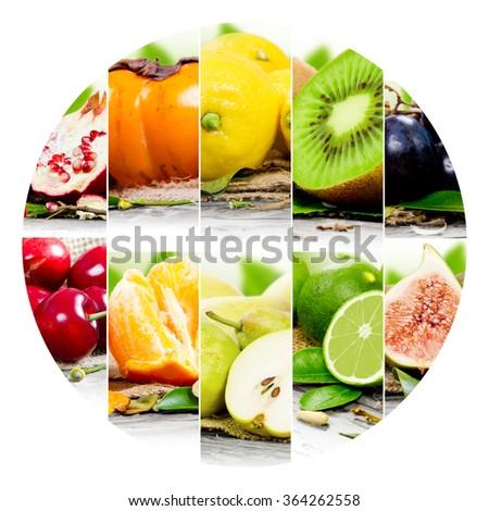 Photo of colorful fruit mix with circle shape - stock photo