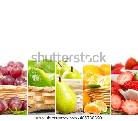 Photo of colorful mix stripes with fruit and slices in baskets; healthy eating concept; white space for text - stock photo