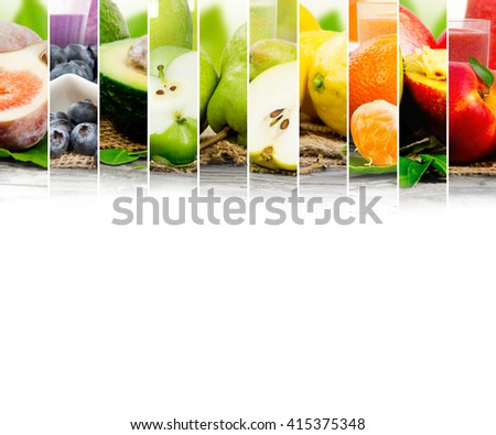 Photo of colorful mix stripes with fruit, slices and glass with juice; healthy food and drink concept; white space for text - stock photo