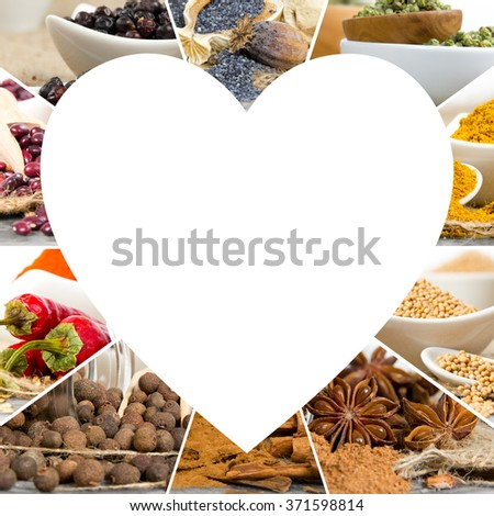 Photo of colorful spice mix with white heart space for text - stock photo
