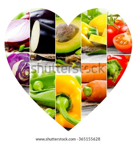 Photo of colorful vegetable mix with heart shape - stock photo