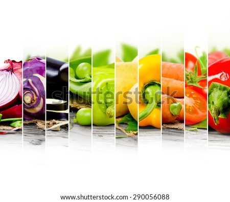 Photo of colorful vegetable mix with white space for text - stock photo