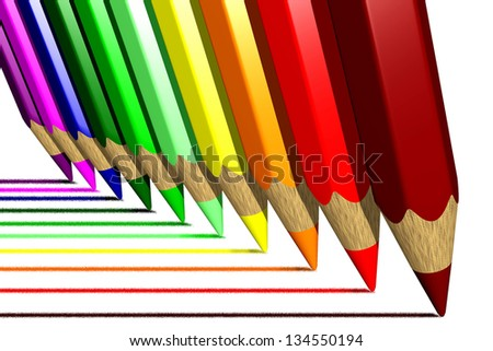 Photo of Coloring pencils (3D) - stock photo