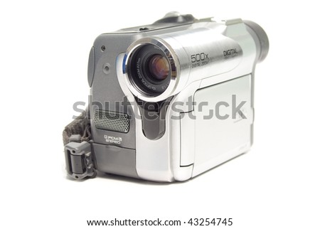 Photo of compact digital camcorder isolated over white